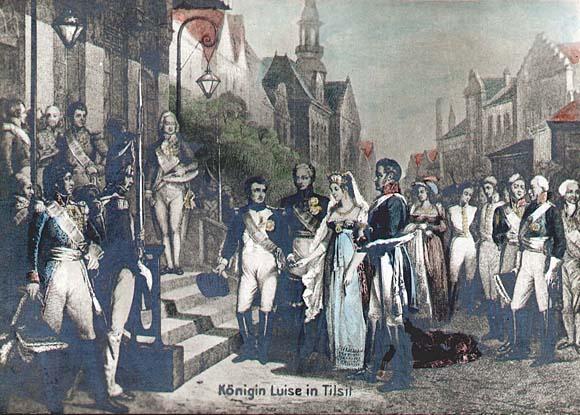 Наполеон, Александр I, Фридрих Вильгельм III и королева Луиза в Тильзите, 1807 год