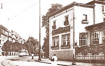 Хуфенская аллея (ныне - проспект Мира), 1930 год. Трамвайная линия проходит мимо зоопарка (слева)