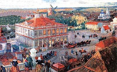 Дом Анны Монс в Немецкой слободе, подаренный ей Петром I. С картины А. Бенуа