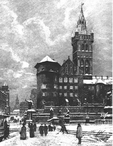 Зимний вид Кёнигсбергского замка. Картина Хуго Ульбрихта. 1908 год