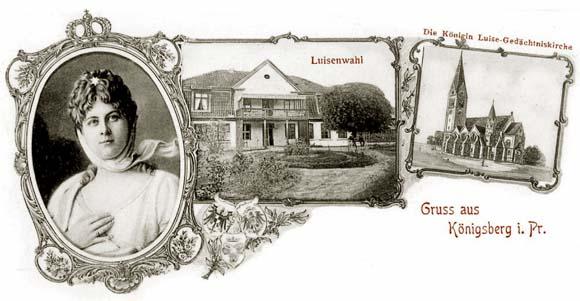 Королева Луиза (слева) и кирха Королевы Луизы в Кёнигсберге (справа)