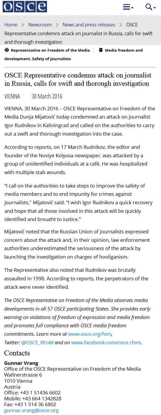 OSCE Representative condemns attack on journalist in Russia, calls for swift and thorough investigation