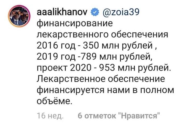 губернатор Алиханов: деньги на лекарства есть